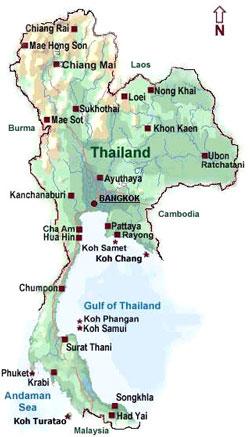 نقشه کشور تایلند